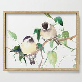 Chickadees, birds on tree, bird design neutral colors Serving Tray