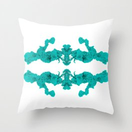 Cyan Ink Drop In Water Throw Pillow