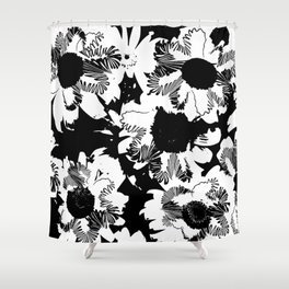 Black and white daisies Shower Curtain