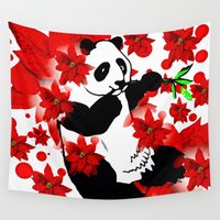 red panda Wall Tapestries featuring Panda by Saundra Myles