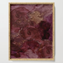 Rose, Burgundy and Merlot Watercolor Flowers Serving Tray