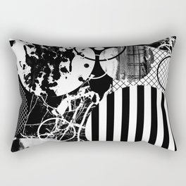 Black And White Choas - Mutli Patterned Multi Textured Abstract Rectangular Pillow