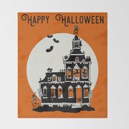 Vintage Style Haunted House - Happy Halloween Throw Blanket