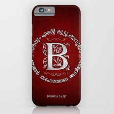 Joshua 24:15 - (Silver on Red) Monogram B iPhone 6s Slim Case