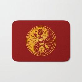 Yellow and Red Yin Yang Roses Bath Mat
