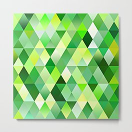 Lime Green Yellow White Diamond Triangles Mosaic Pattern Metal Print