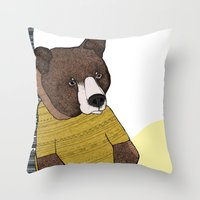 nike Throw Pillows featuring Bear in Nike by Diana Hope