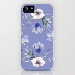 Floral Square Blue iPhone Case