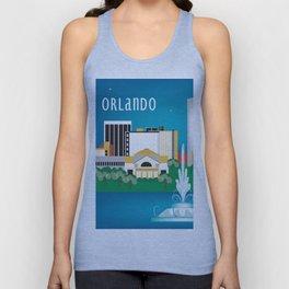 Orlando, Florida - Skyline Illustration by Loose Petals Unisex Tank Top