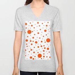 Mixed Polka Dots - Dark Orange on White Unisex V-Neck