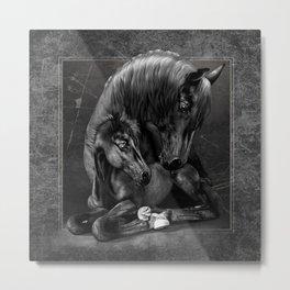 Black Popular Friesian Horse Metal Print