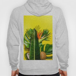 Tropical leaves and flowers on yellow background Hoody