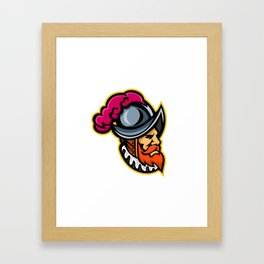 Spanish Conquistador Head Mascot Framed Art Print
