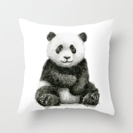 Panda Baby Watercolor Throw Pillow