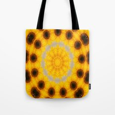 Sunflower and Bee Abstract Tote Bag