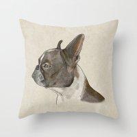 bulldog Throw Pillows featuring Bulldog by Marta Bocos