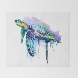 Watercolor Sea Turtle Throw Blanket