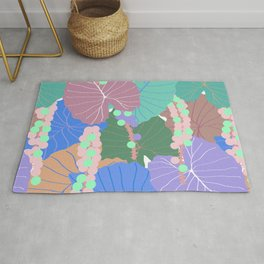 Elephant Ear Leaves + Sea Grapes in Muted Pastel Rug