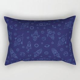 Space Animals light blue on dark blue Rectangular Pillow