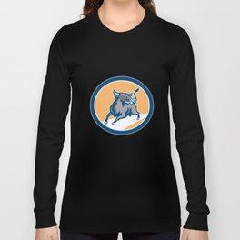 Raging Bull Attacking Charging Circle Retro Long Sleeve T-shirt