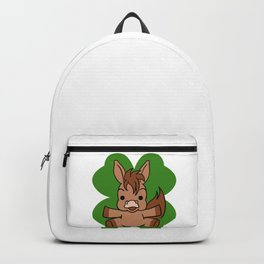 Horse On 4 Leaf Clover - St. Patricks Day Animal Backpack