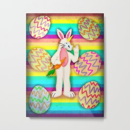 Happy Easter Bunny Unicorn Metal Print