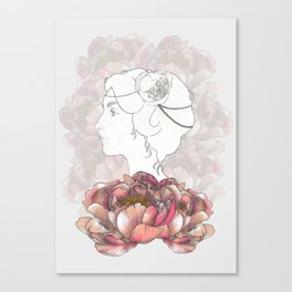 Portrait & Peonies Canvas Print