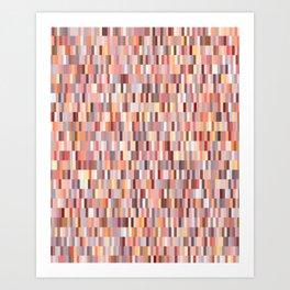 Peach, salmon and coral, pink shades, geometric pieces print Art Print