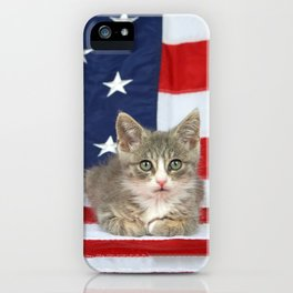 Patriotic Tabby Kitten iPhone Case
