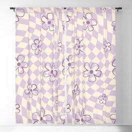 Purple Checker Flower Swirl Warp Blackout Curtain