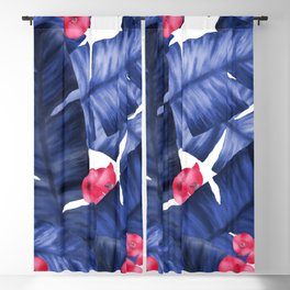 Tropical Banana Leaves With Flower Pattern Blackout Curtain