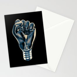 Protest fist light bulb / 3D render of glass light bulb in the form of clenched fist Stationery Cards