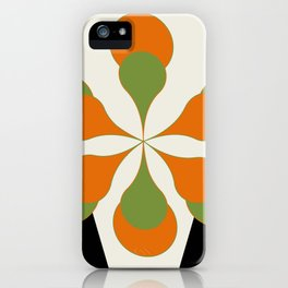 Mid-Century Modern Art 1.4 - Green & Orange Flower iPhone Case