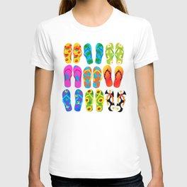 Sandals Colorful Fun Beach Theme Summer T-shirt