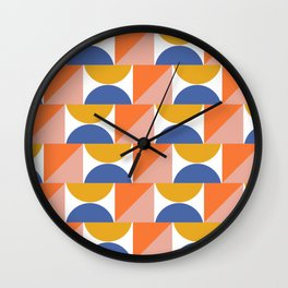 Retro Summer Beach Colors and Shapes in Blue, Orange, and Yellow Wall Clock