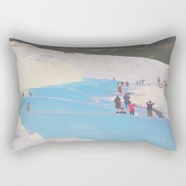 Blue thermal pool of the white castle, Pamukkale Rectangular Pillow