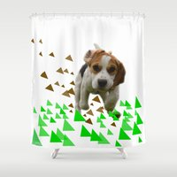beagle Shower Curtains featuring Beagle by MinnaEleonoora