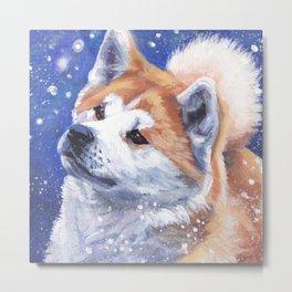 Akita inu Fine Art Dog Painting by L.A.Shepard Metal Print