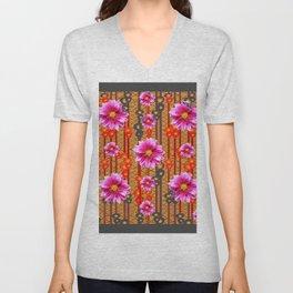 Purple Dahlias on Red & Orange Pattern Art Unisex V-Neck