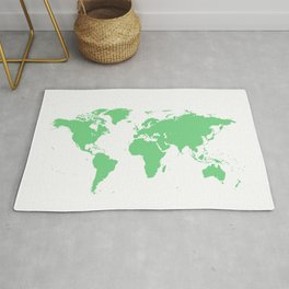 World Map - Green Rug