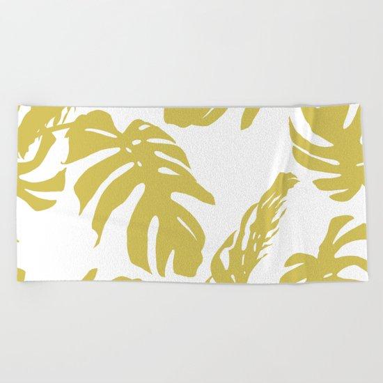 Simply Mod Yellow Palm Leaves Beach Towel