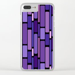 Purple Indigo Retro Blocks Clear iPhone Case