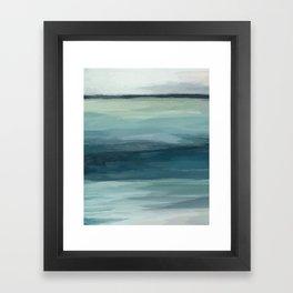 Seafoam Green Mint Navy Blue Abstract Ocean Art Painting Framed Art Print