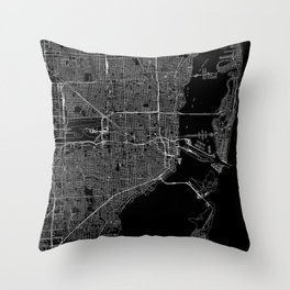 Miami Black Map Throw Pillow
