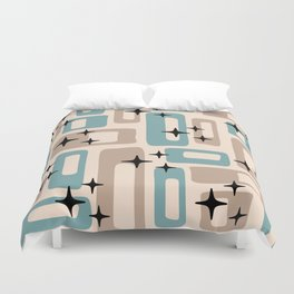 Retro Mid Century Modern Abstract Pattern 227 Blue and Beige Duvet Cover