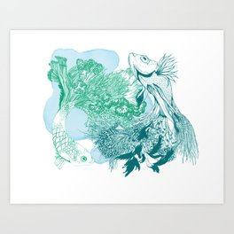 Fishy Dancers Art Print