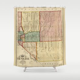 Map of the State of Nevada (1866) Shower Curtain