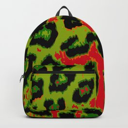 Red and Apple Green Leopard Spots Backpack