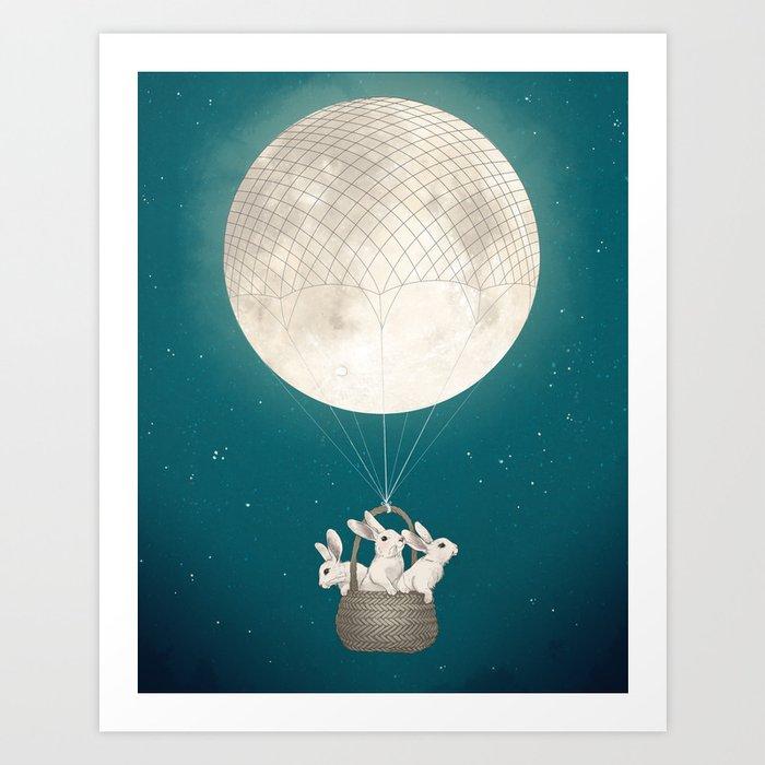 moon bunnies Art Print