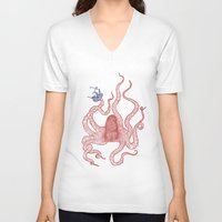 kraken V-neck T-shirts featuring Kraken by Andrew Henry